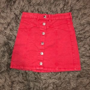 red button up skirt